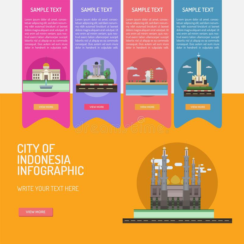 Infographic City of Indonesian stock illustration