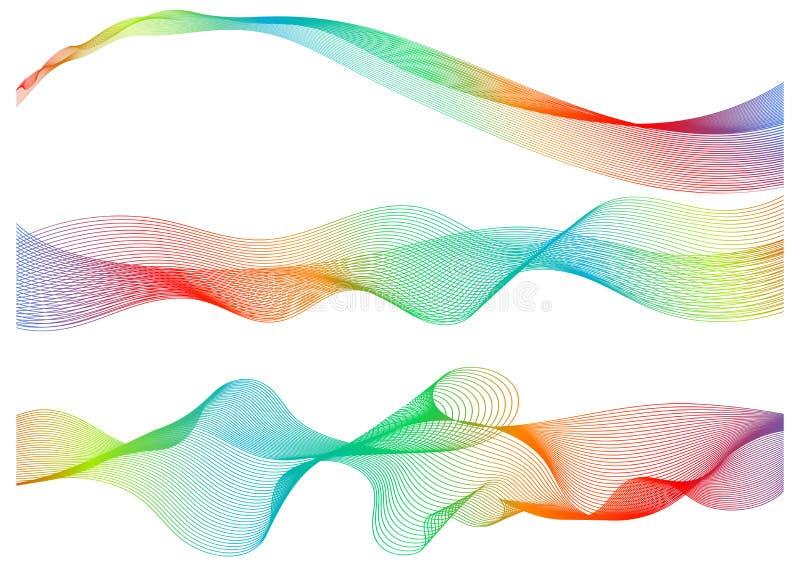 Set great rainbow waves colorful gradient line, vector illustration royalty free illustration
