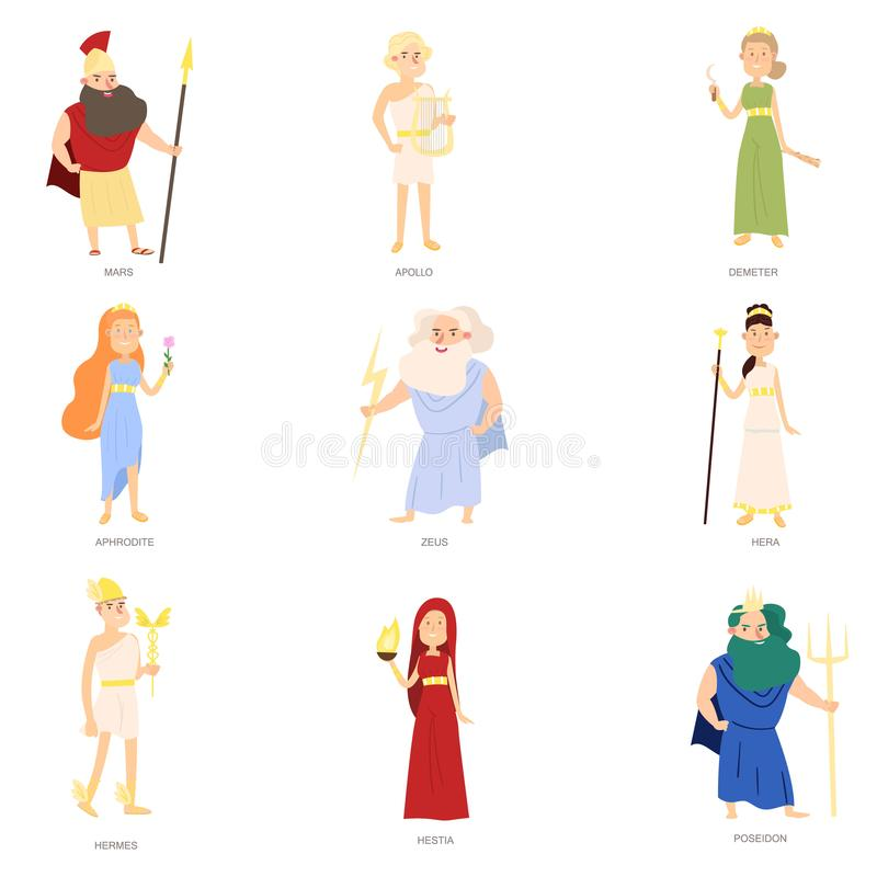 Set of greek ancient gods, different colorful character stock illustration