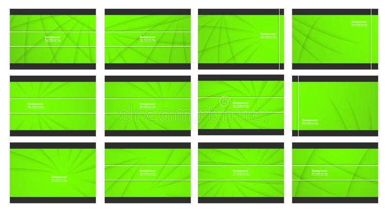 Set of green abstract background with copy space for text. Modern template design for cover, web banner, screen and magazine. Vector illustration stock illustration
