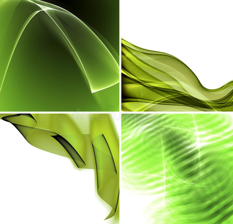 Set of green abstract backgrounds vector illustration