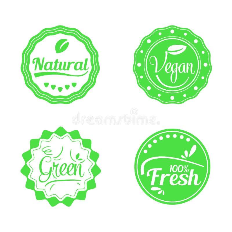 Set of Green, Natural, Fresh, and Vegan Badge royalty free stock photography