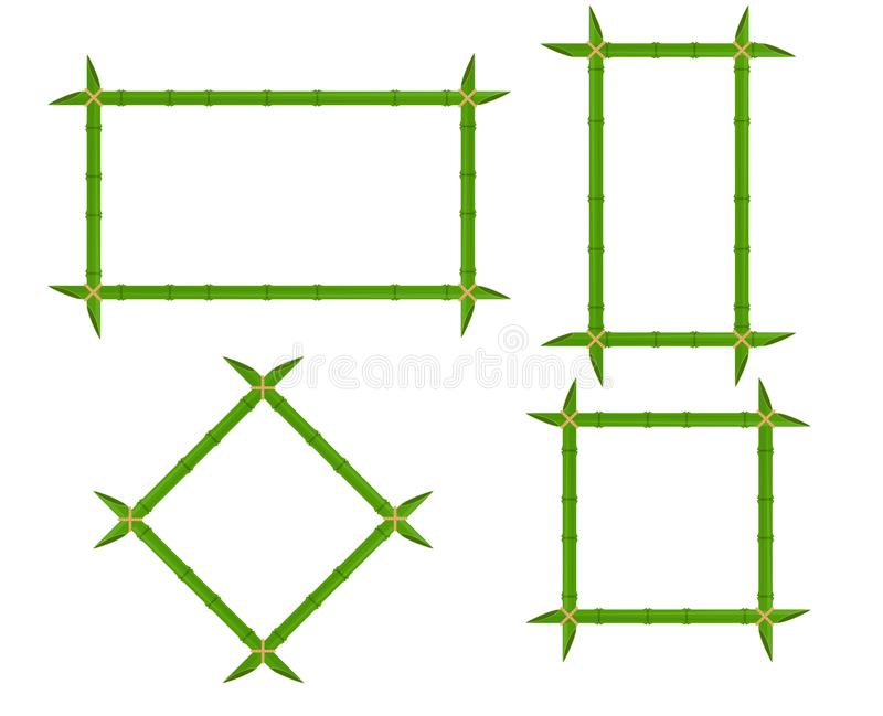 Set green bamboo frames of different shapes with ropes and place for text. Decoration wooden signboard vector flat illustration de vector illustration