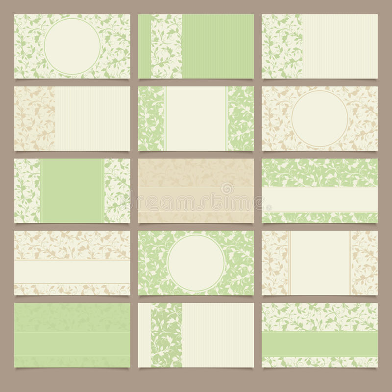 Set of green and beige business cards with floral patterns. Vector illustration. stock illustration