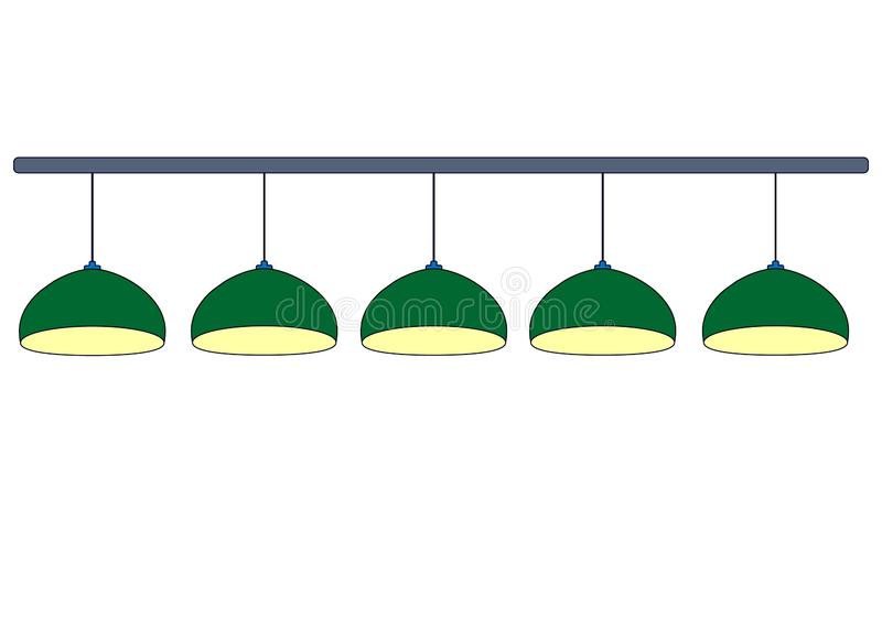 Set of 5 green billiard lamps  with yellow light. Row green hanging 4 lamps for lighting pool table. Isolated on white background. Vector simple flat stock illustration