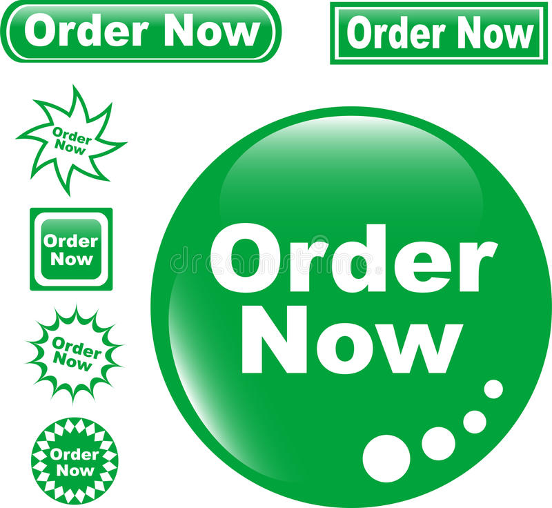 Free Set Green Button ORDER NOW Glossy Royalty Free Stock Photography - 19631457