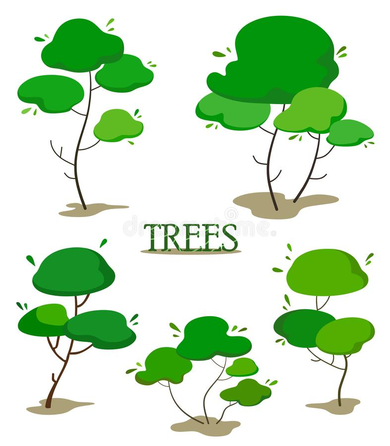 Set of green cartoon trees. Flat stylized fantasy trees stock illustration