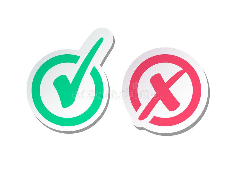 Set of Green Check Mark Icon and Red X cross. Tick Symbol vector illustration