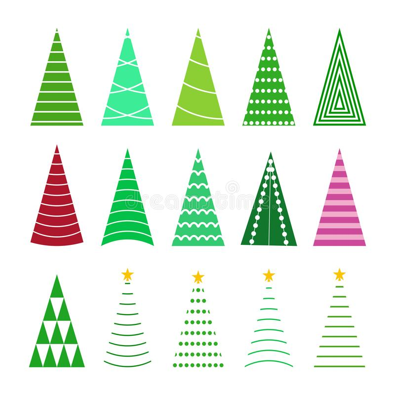 Set green christmas tree collection, cartoon holiday tree for celebration and new year illustration royalty free stock photo