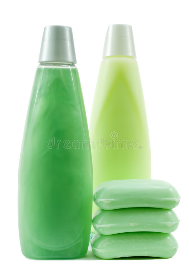 Set of Green Color Hygienic Supplies royalty free stock image