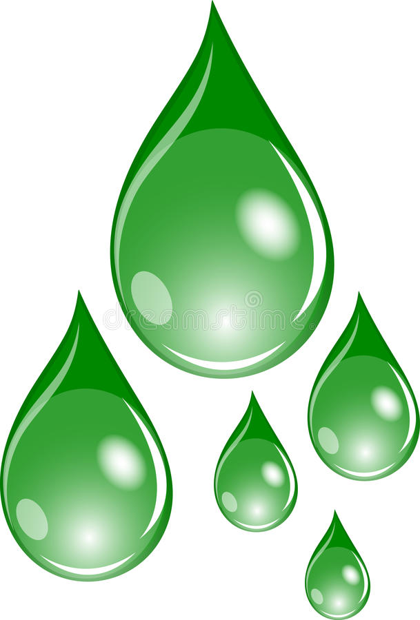 Set of green drops. Illustration of a set of green drops royalty free illustration