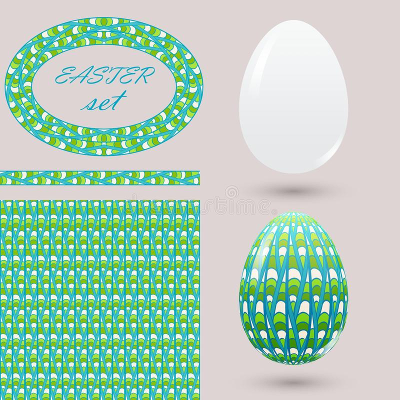 Set with green Easter eggs and design elements zenart style. Bright spring color ornamental brush seamless pattern and frame for d stock illustration