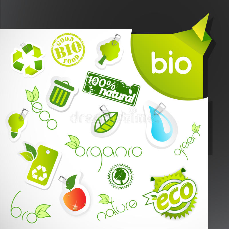 Set of green ecology icons. Vector art royalty free illustration