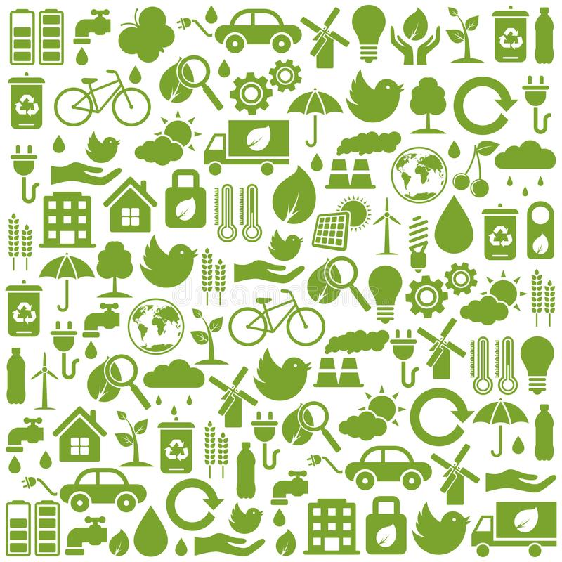 Set of green ecology icons vector illustration