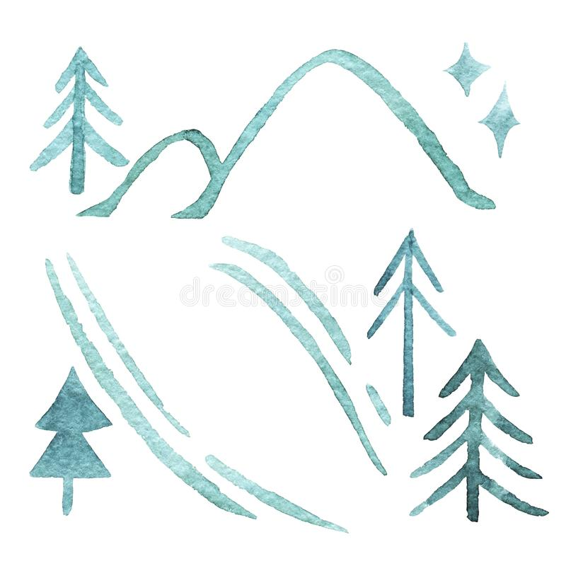 Set of green fir trees, ski track, hills, star isolated on white background. Christmas trees. Happy New Year background. Winter holidays. Design for card stock illustration