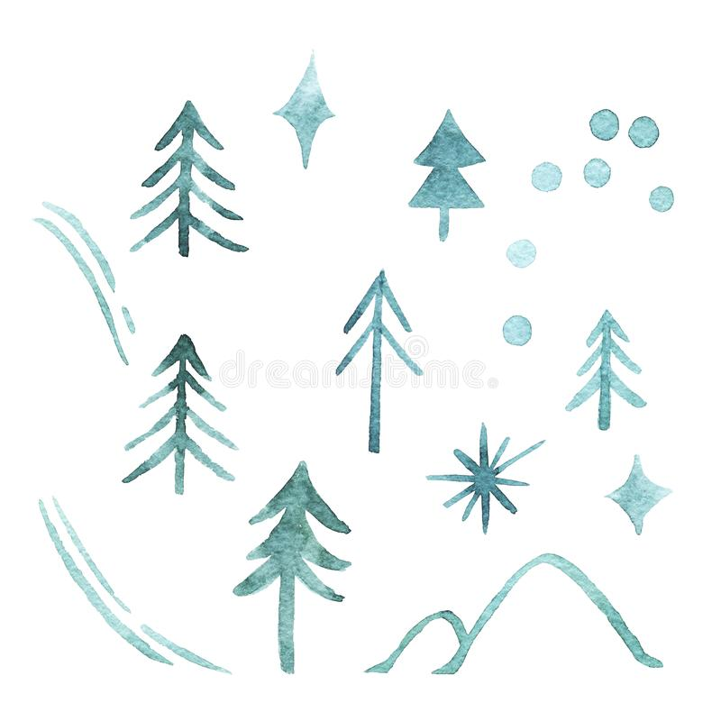Set of green fir trees, snowflakes, ski track, hills, star isolated on white background. Christmas trees. Happy New Year background. Winter holidays. Design stock illustration