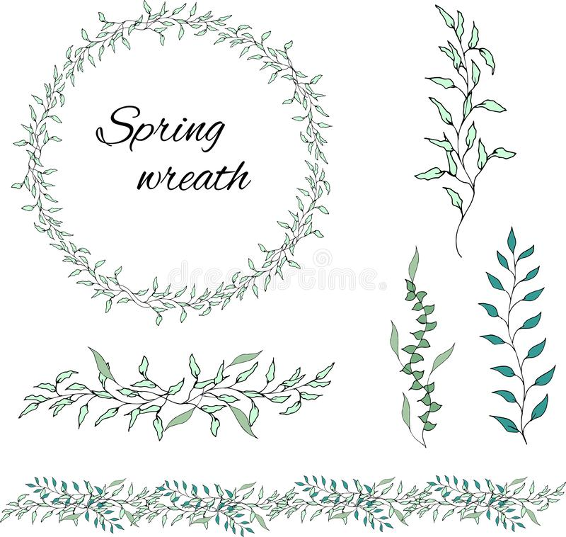 Set of green floral patterns, ornaments and vector wreaths of green leaves and vectors for decoration. Spring ornament concept stock illustration