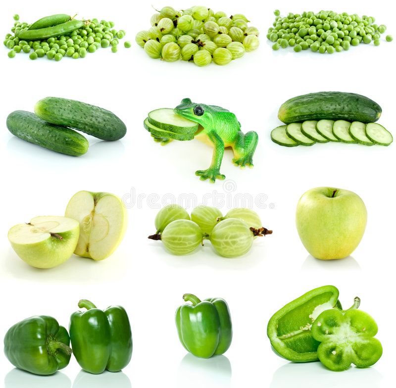 Set of green fruit, berries and vegetables stock photos