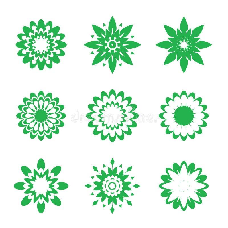 Set of green geometric flowers stock illustration