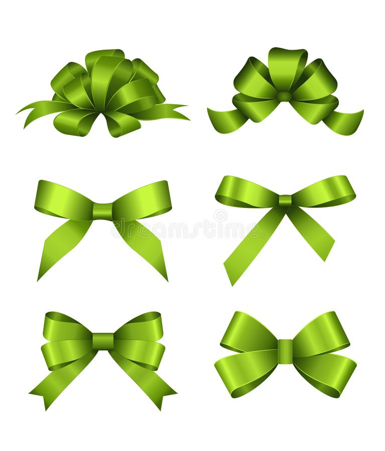 Set of green gift bows. Concept for invitation, banners, gift cards, congratulation or website layout vector. vector illustration