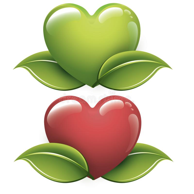 Set Green heart for a good energy - Ecological concept - Logo. Green ecology concept icon with leaf for your design. To see collection completes in my gallery royalty free illustration