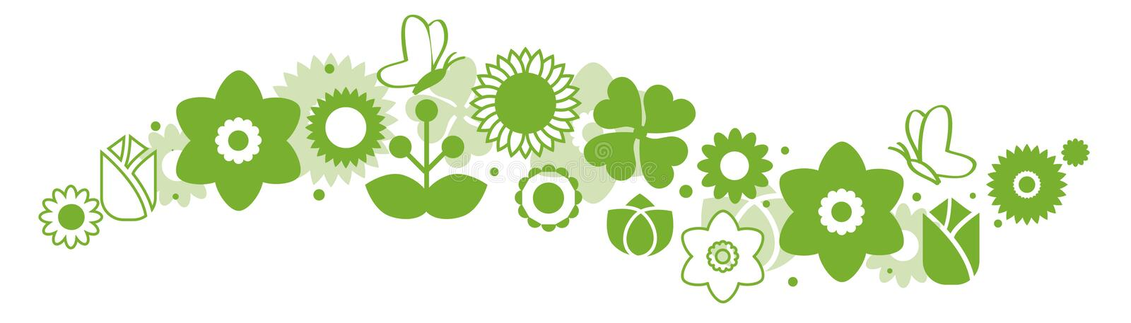 Set of green icon flower icons. In silhouette isolated on white vector illustration