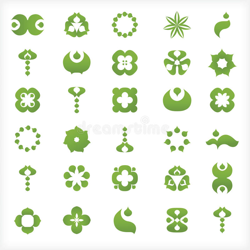 Set of 30 green icons and graphics royalty free illustration
