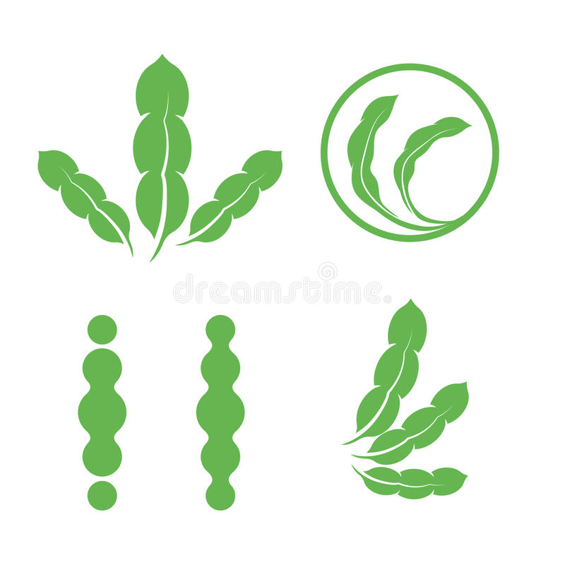 Set of green isolated leaves logos. Plant elements logotype collection. Natural products sign. Leaf symbol. Healing. Herbs icon. Vector illustration royalty free illustration