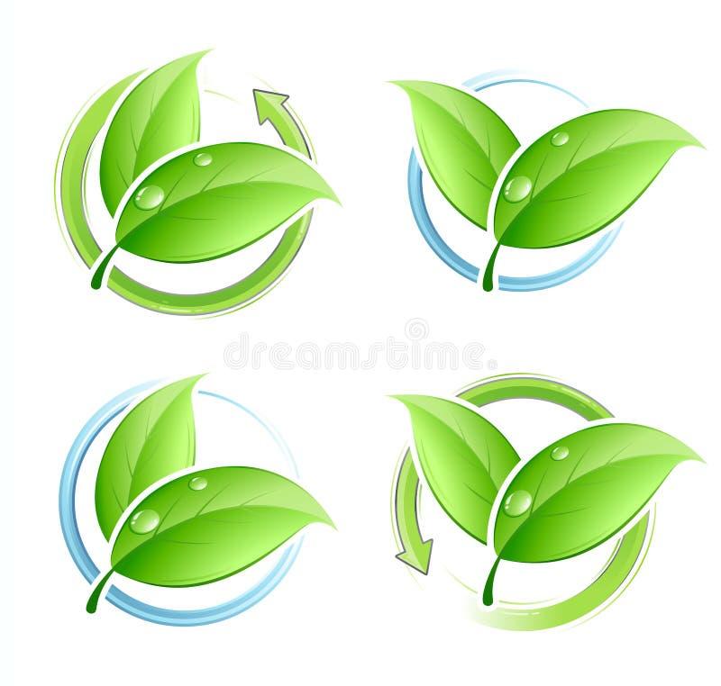 Set of green leaves royalty free illustration