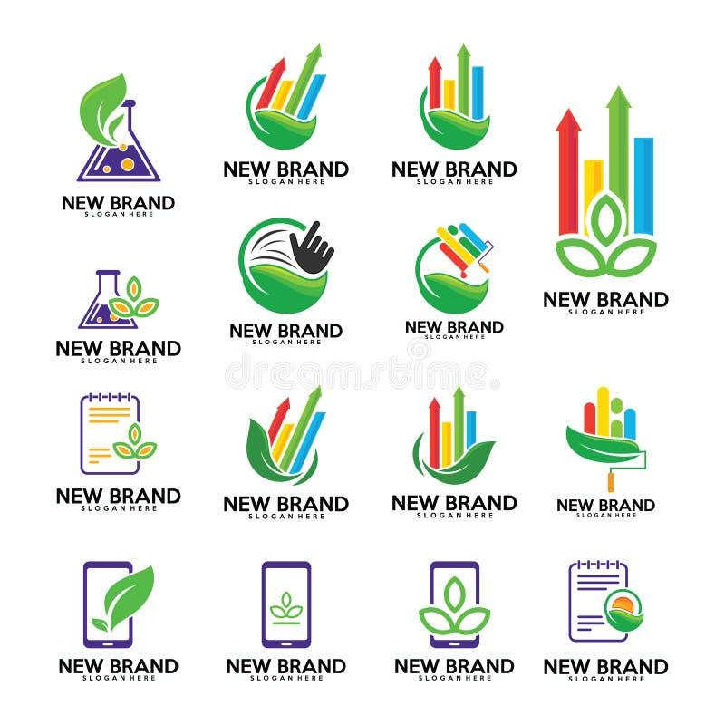 Set of Green logo , leaf logo template, Finance, boilogy, phone, touch, note. Set of Green logo , leaf logo template, Finance, boilogy, phone, touch, note vector illustration