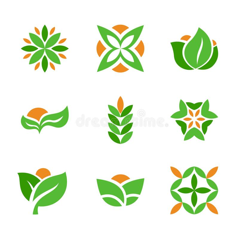 Set of green logos template. Creative natural and eco symbols with leaf shape. stock illustration