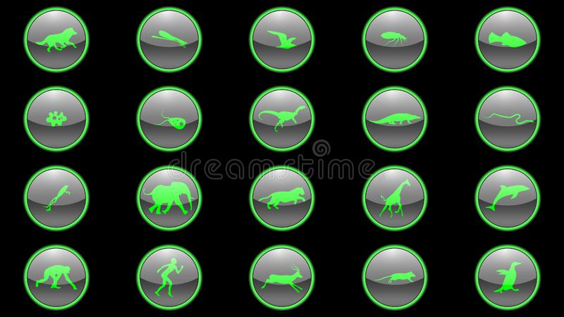 Set of green neon icons. About the evolution of species. Animals icons vector stock illustration