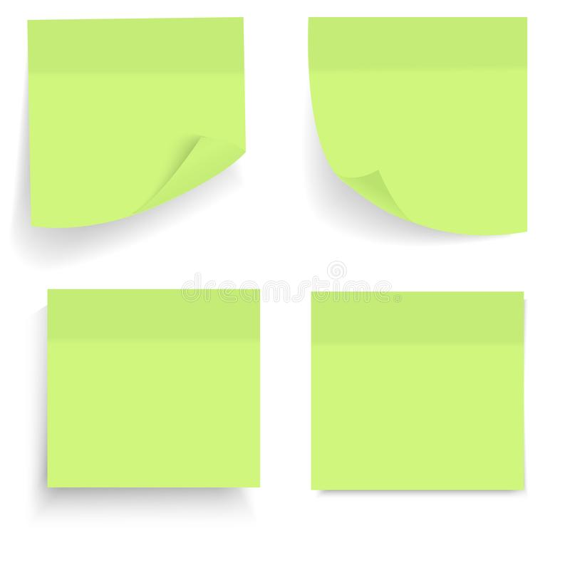 set of green office paper sheets or sticky stickers with shadow isolated on a transparent. Black Bedroom Furniture Sets. Home Design Ideas