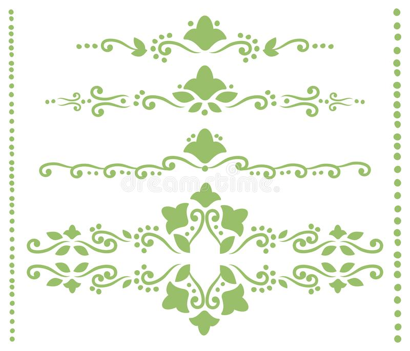 Set of green openwork dividers for text from curls, outlines of flowers, leaves and dots vector objects isolated on white backgrou vector illustration