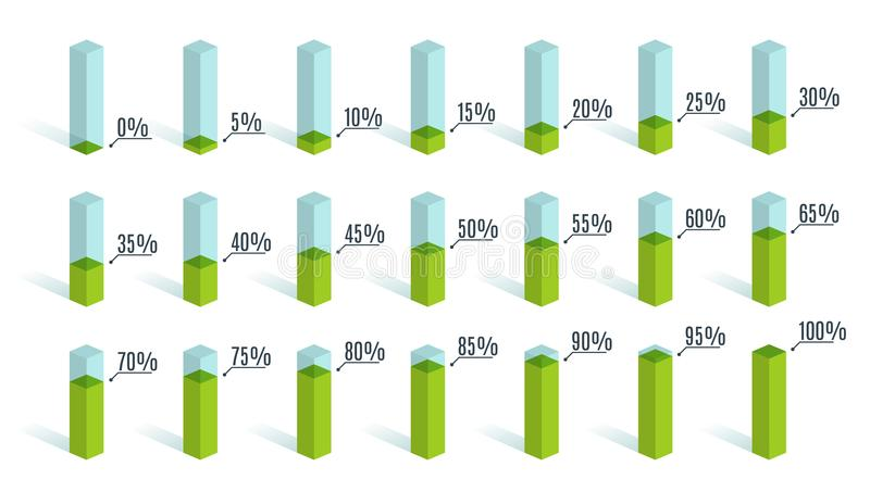 Set of green percentage charts for infographics, 0 5 10 15 20 25 30 35 40 45 50 55 60 65 70 75 80 85 90 95 100 percent royalty free illustration