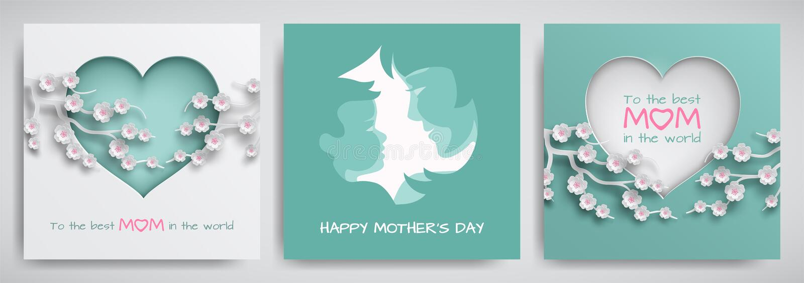 Set of green and pink greeting card for mother`s day. Women and baby silhouettes, сongratulations text, cuted heart with flowers vector illustration