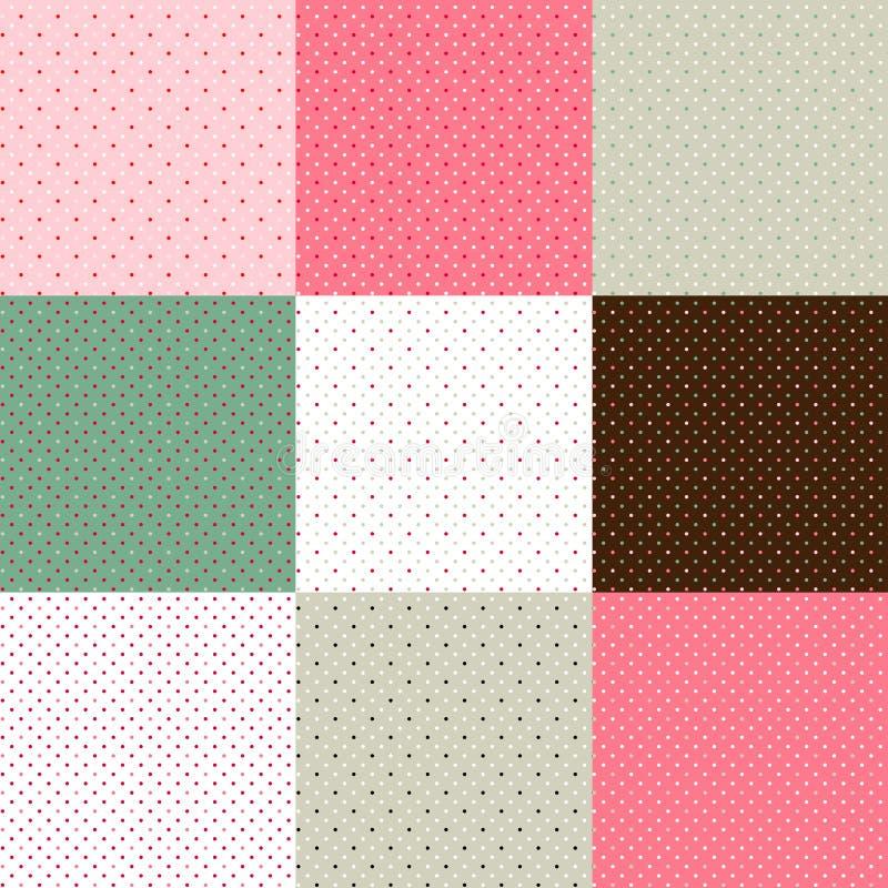 Set of green - pink polka dot textures. Set of green - pink polka dot seamless textures, vector illustration, eps 10 stock illustration