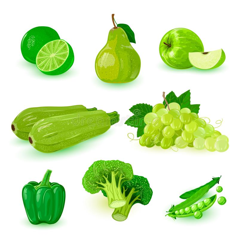 Set with green ripe fruits: apple, bunch of grapes, pear, lime, bell pepper, broccoli, peas. royalty free illustration