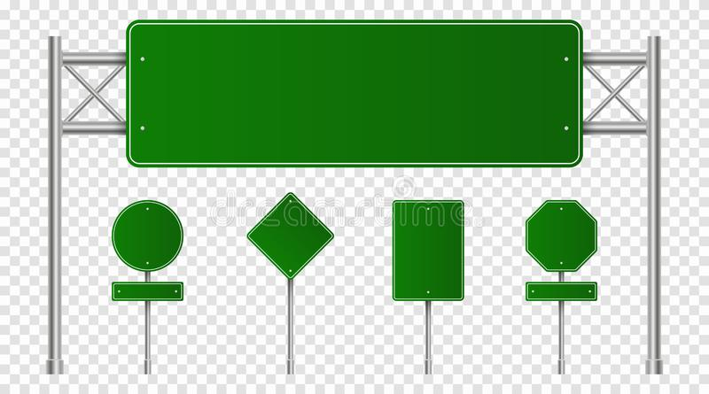 Set of green road signs. Blank traffic signs, highway boards, signpost and signboard. Realistic traffic signs. Isolated on transparent background. Vector royalty free illustration
