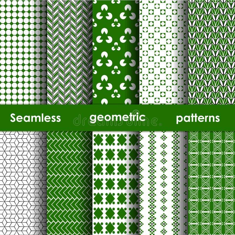 Set of 6 green seamless patterns royalty free illustration