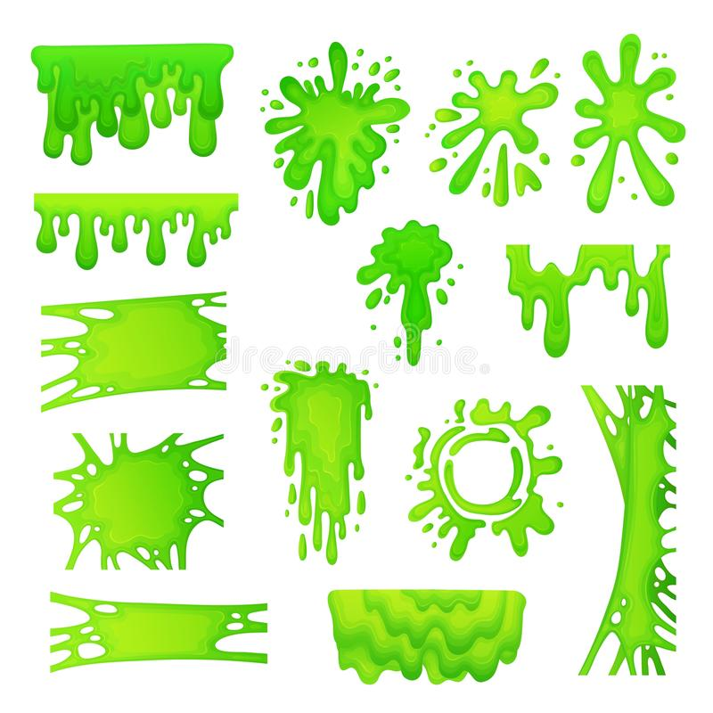 Set of green slime drops and blots cartoon vector illustration isolated. royalty free illustration