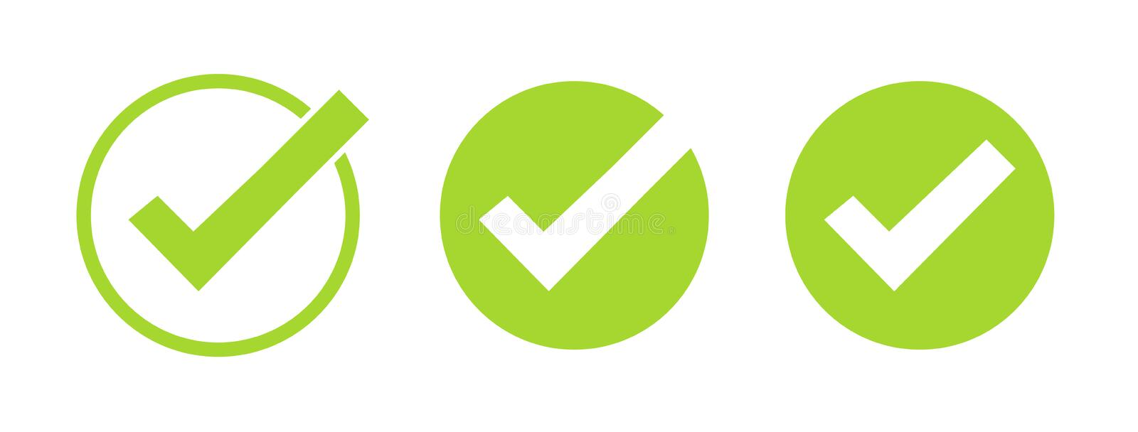 Set of green tick icons. Vector symbols set, checkmarks collection isolated on white background. Checked icon or correct choice royalty free illustration