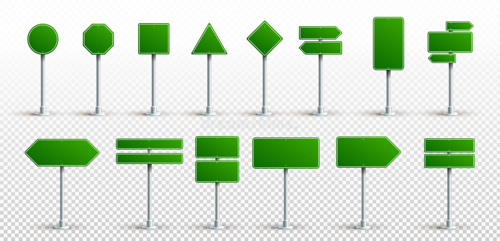 Set Of Green Traffic Signs. Road Board Text Panel, Mockup Signage Direction Highway City Signpost Location Street Arrow Way. royalty free illustration