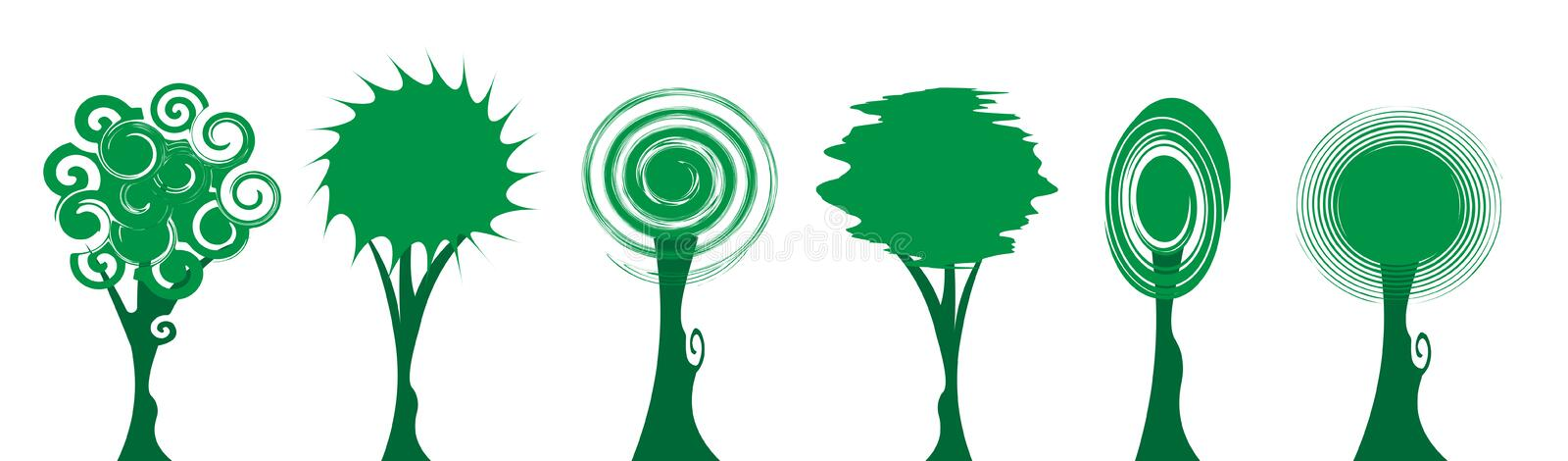 Set of green tree icons, Trees Education Logo Design, original green nature curly style, eco and bio badge, abstract organic icon 皇族释放例证
