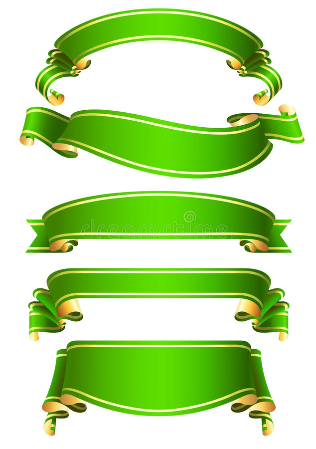 Download Set Of  Green Vector Ribbon Banners Stock Vector - Image: 23813781