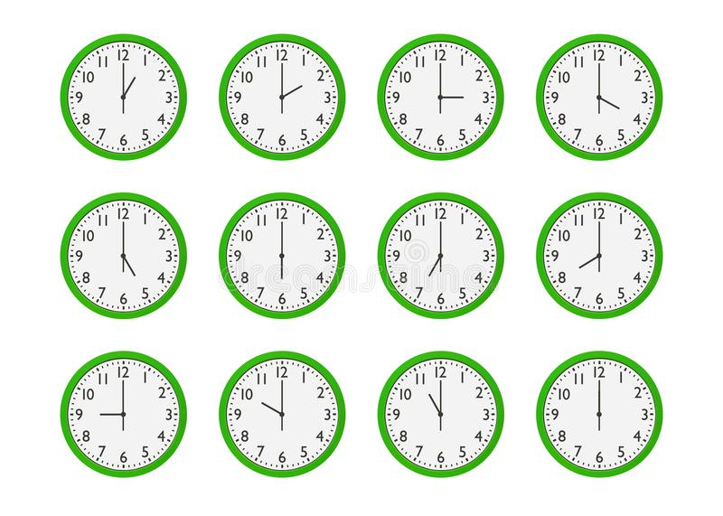 Set of green wall clocks with different time isolated on white background royalty free illustration