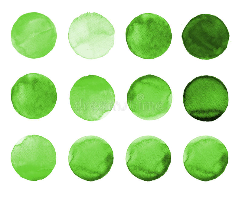 Set of green watercolor hand painted circle isolated on white. Illustration for artistic design. Round stains, blobs. Set of colorful watercolor hand painted stock illustration