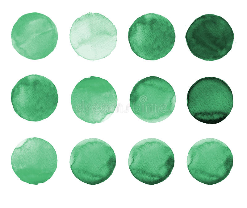 Set of green watercolor hand painted circle isolated on white. Illustration for artistic design. Round stains, blobs. Set of colorful watercolor hand painted royalty free illustration