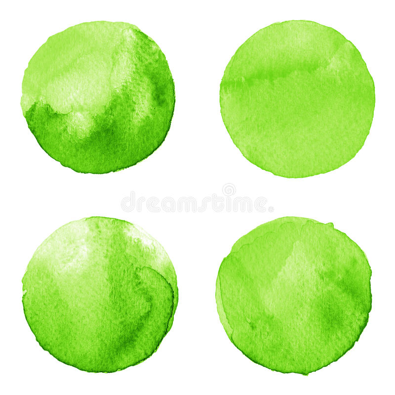 Set of green watercolor hand painted circle isolated on white. Illustration for artistic design. Round stains, blobs. Set of colorful watercolor hand painted vector illustration