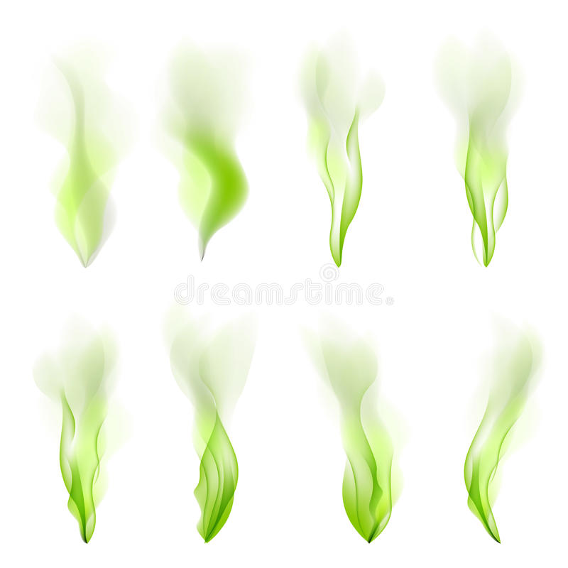 Set of green wave abstract, background, vector, smoke, line, flow,. Set of green wave abstract background vector smoke line flow art stock illustration